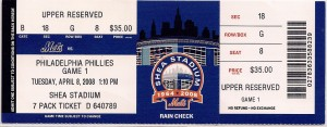 2008 Mets Opening Day Ticket
